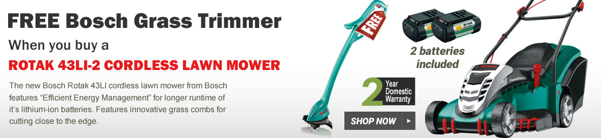 Bosch Rotak 43LI-2 Cordless Lawnmower with free strimmer